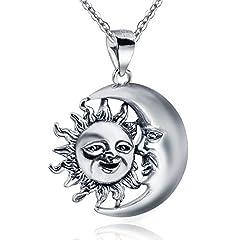 Idea Regalo - MATERIA 925Argento Sterling Catena Ciondolo a forma di luna e sole Antico con cofanetto portagioie # KA 253
