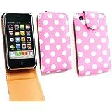 Emartbuy ® Apple iPhone 3G / 3GS Premium-PU-Leder Flip Case / Cover / Tasche Polka Dots Pink / Weiß und LCD Displayschutz