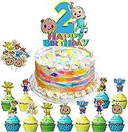 Cocomelon Birthday Cake Topper Set 1st 2nd Second Birthday Cake Cupcake Toppers Decoration for JJ Melon Theme