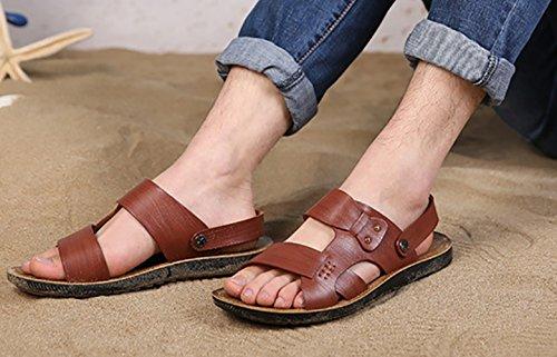 Icegrey Herren Strand Sandalen Slide Geschlossene Freizeit Sommer Hausschuhe Outdoor Pantolette Rot Braun