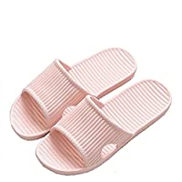 APIKA Women and Men's Anti-Slip Slip-on Slippers Indoor Use Outdoor Use Bath Sandal Soft Foam Sole Pool Shoes House Home Slide(Pink,36/37 EU)
