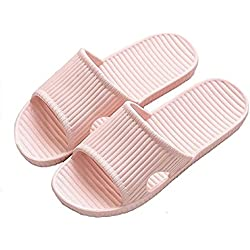 APIKA Pantoufles Antidérapantes pour Femmes Et Hommes Usage Intérieur Usage Extérieur Bain Sandal Soft Foam Sole Chaussures De Piscine Maison Accueil Slide(Rose,38/39 EU)