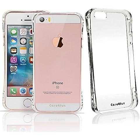 Funda iPhone SE, Case4fun Carcasa iPhone 5SE / 5S / 5 [Ultra Hybrid] Amortiguacion neumatica [Crystal Clear] Parte trasera transparente de policarbonato + TPU bumper par Apple iPhone 5SE / 5S / 5 / SE