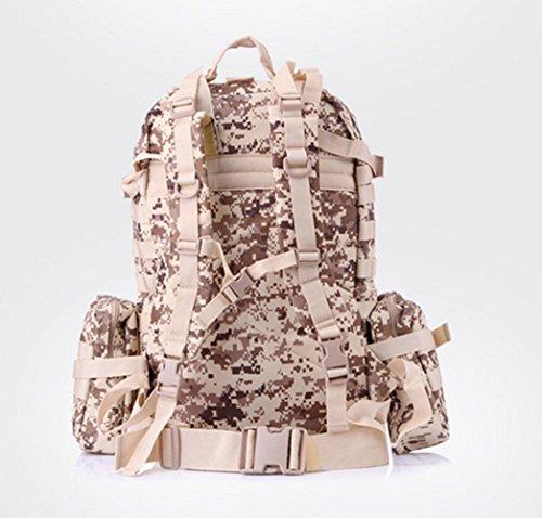 , großes Fassungsvermögen Mehrzweck verstellbaren Tactical Rucksack Herren Damen Multifunktions-Kombination Paket Outdoor Klettern Camping Wandern Trekking Tasche - Desert digital