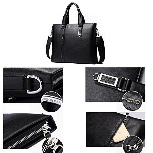 BINSON DENIM Herren Leder Aktentasche Herren Handtaschen Herren Umhängetasche Herren Laptop Tasche Hohe Qualität N2327 (Schwarz) Schwarz