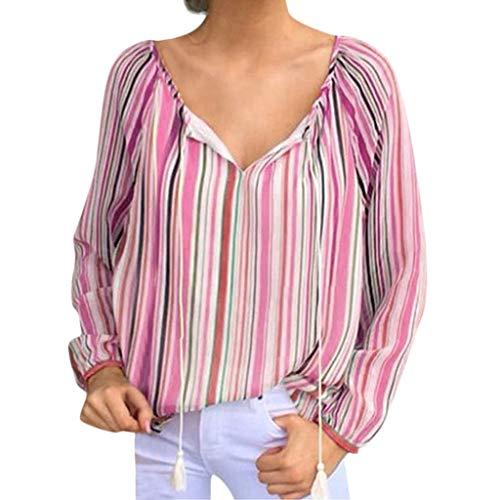 ABsoar Boho Bluse Damen Streifen Drucken Langarm Shirts mit Quaste Bandage T-Shirt Lose V-Ausschnitt Elegant Pullover Tees Elegante Tee-sets