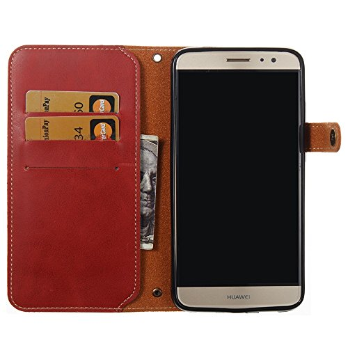 Solid Color Faux Ledertasche Retro Folio Horizontale Flip Stand Case mit Magnetniet Verschluss & Card Slots & Lanyard für Huawei Nova Plus ( Color : Brown ) Red