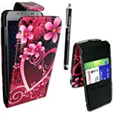STYLEYOURMOBILE {TM} SAMSUNG GALAXY S4 MINI i9190 LOVE HEART CARD POCKET HOLDER PU LEATHER MAGNETIC FLIP CASE COVER POUCH + FREE STYLUS