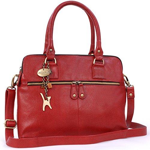 Catwalk Collection Handbags - Leder - Große Schultertragetasche/Umhängetasche/Shopper/Tote - Handtasche mit Schultergurt - VICTORIA - Rot -
