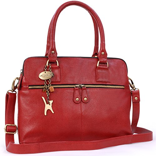 Leder-handtasche Tote-schulter-handtasche (Catwalk Collection Handbags - Leder - Große Schultertragetasche/Umhängetasche/Shopper/Tote - Handtasche mit Schultergurt - VICTORIA - Rot)