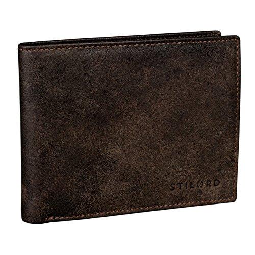 STILORD Vintage Portamonete pelle marrone per uomo / 6 x EC /elegante / Portafoglio in vera pelle marrone scuro