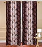 Homebird Premium Brown Abstract Polyester single set of curtain