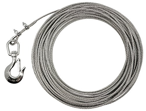 KAMERO Edelstahl Windenseil mit Trailerhaken, V4A, rostfrei, belastbar bis 650kg BZW. 1000kg, Versch. Längen, Seilstärken (20, 6mm Seil)