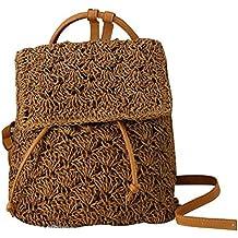 Mochila de paja para mujer, bolso de ganchillo de playa, mochila vintage de Beatie