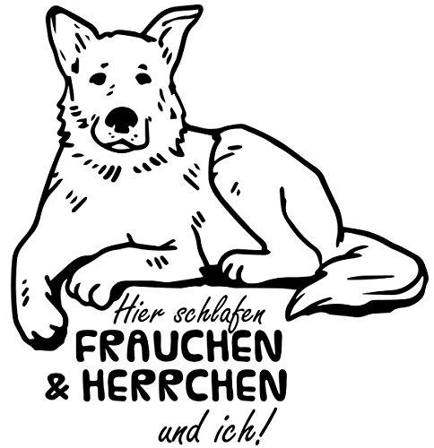 Wandtattoo Schäferhund Spruch Hier schlafen Frauchen und ich Tür Aufkleber German Shepherd Hund Schlafzimmer 1B118, Farbe:Königsblau Matt;Hohe:60cm -