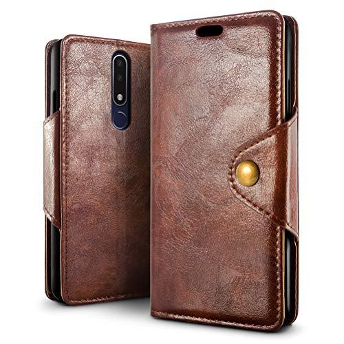 SLEO Hülle für Nokia 3.1 Plus, Retro PU Lederhülle Wallet Deckel mit Kartensteckplätze Tasche für Nokia 3.1 Plus - Kaffee