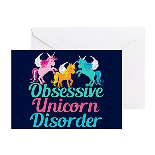 CafePress - Cool Unicorn - Grußkarte, Notizkarte, Geburtstagskarte, blanko Innenseite glänzend (Papier Teal Kontakt)