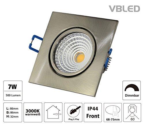 VBLED LED Einbauleuchte 7W 230V AC 500 Lumen dimmbar extra flach (eckig eisen gebürstet)