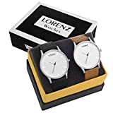 LORENZ Analogue Round White Dial Men's Watches - Combo of 2