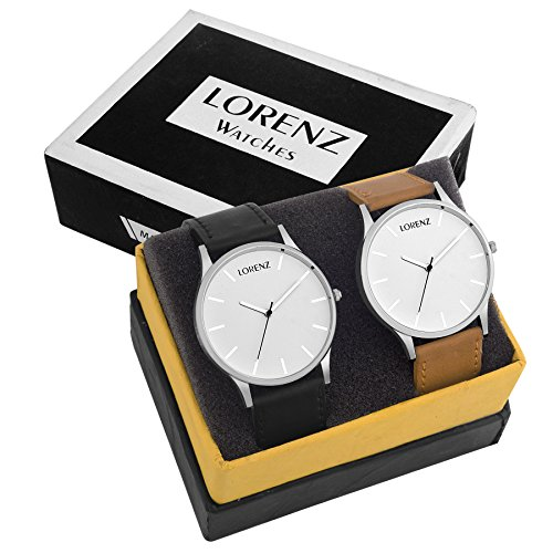 LORENZ Analogue Round White Dial Men\'s Watches (Combo of 2) - MK-3155A