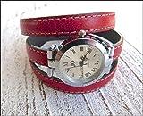 Armbanduhr Damen zum Wickeln aus Leder in rot, Geschenk