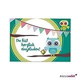 """#detailverliebt! 15 niedliche Einladungskarten """"Motiv Eule"""", DIN A6   Art. Nr. dv_013   **Perfekt für den Kindergeburtstag**   Karte Einladung Eule, Türkis, Party, Geburtstag"""