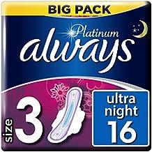 Always Platinum Night - Toallas sanitarias (4 x 16 almohadillas, ...