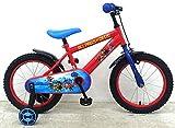.paw patrol Kinderfahrrad Jungen 16 Zoll mit Vorradbremse am Lenker und Rücktrittbremse, Stützräder Rot Blau 95% Zusammengebaut
