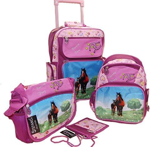 STEFANO Kinder Reisegepäck Trolley Kitatasche Rucksack Brustbeutel 4 tlg. Set Pony / Pferd pink rosa --präsentiert von RabamtaGO-- (4 tlg. Set)