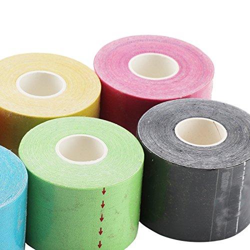 JUEYAN 6 Rollen Kinesiologie Tape 5 X 500 CM Sporttape Wasserdicht Elastisches Kinesiology Sport Tape Tapeverband aus Baumwolle - 8