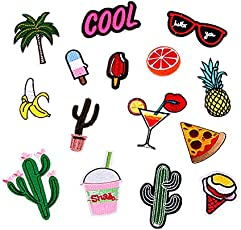 Ocamo 15pcs Mixed Patches for Clothing Iron On Embroidered Appliques Summer Clothes Fabric Badges DIY Apparel Accessories