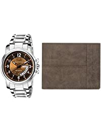 Laurels Combo Pack Analogue Brown Dial Day and Date Function Men's Watch