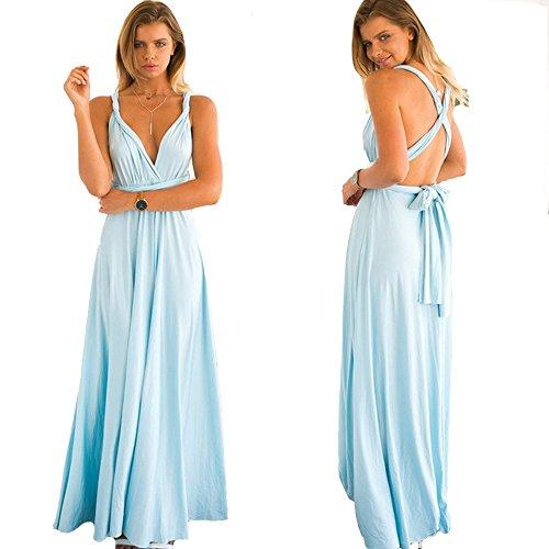 ZEARO Abendkleid Damen Kleider Abendkleid elegant Vintag Kleider hochzeit festlich Partykleid lang Himmelblau