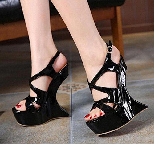 SHINIK Femmes Talons hauts Pompes Sandales d'été Haut talon en forme de bureau imperméable Charming Nightclub Chaussures Black