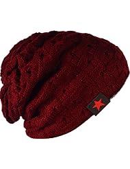 SODIAL (R) hombres tejida de punto de la gorrita reversible holgado tapa del craneo grueso de invierno Gorra X085 - Vino tinto