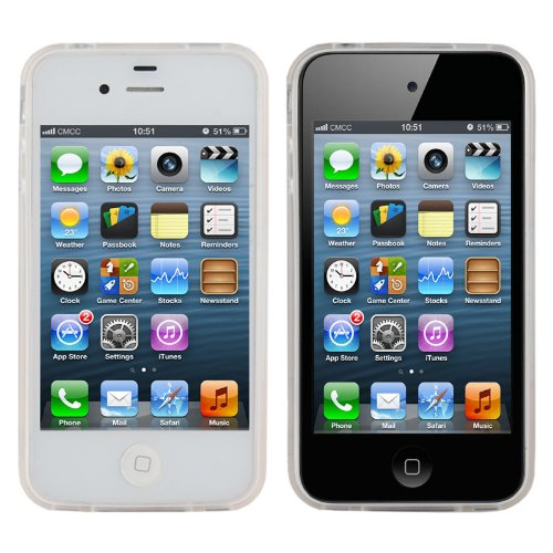A4E  coque de protection pour apple iPhone 4 4S 4 g coque de protection en silicone case coque de protection tPU avec motifs différents Cupcakes - weiß / gelb