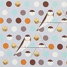 Tissu bio en popeline gris avec des oiseaux, des pois