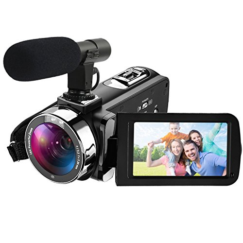 Camcorder Video Kamera Full HD Camcorder 1080p 30 bps 24,0 MP Digital Kamera 3 ' ' LCD-Touchscreen mit externem Mikrofon und Remote-Controller
