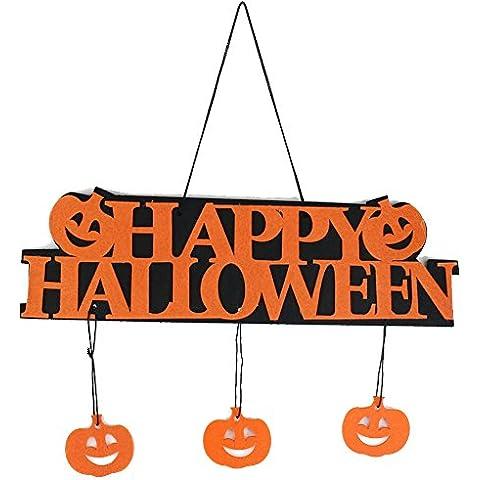 TININNA Decoración de Halloween,Puerta de madera o placa de la pared de Halloween con Pequeña Calabaza ,Día decoración Sign Happy Halloween Calabazas para colgar con escena de la barra de diseño