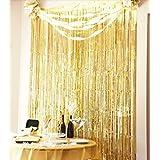 Sunbeauty 3 pies x 8 pies Cortina lista franja decoración de la boda fiesta celabración cumpleaños (oro) (Oro)