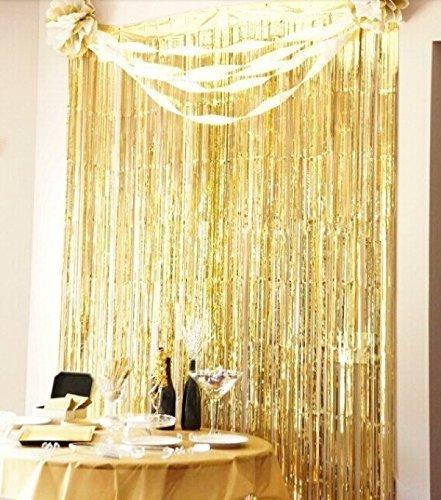Sunbeauty 3 pies x 8 pies Cortina lista franja decoración de la boda fiesta celabración cumpleaños (oro)