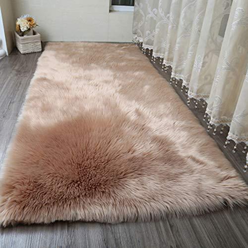 AJON- Teppiche Faux Sheepskin Weiche Flauschig Haarig Großen Teppich Deckel Rutschfeste Matten Für Stuhl Bett Sofa-Boden Mit Extra Langer Wolle,Brown,70X140cm -