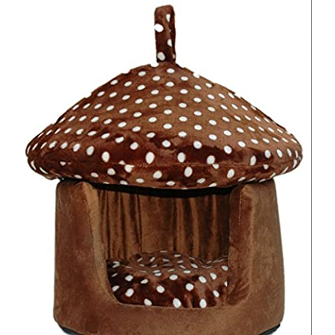 WAA dual-use Lettiera di cuccia Small Dog Pet House in primavera e in estate Yurt Kennel Pads 40*40*45 Brown