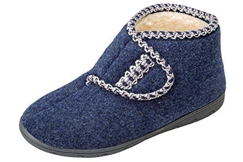 Pantofole Gibra® Per Donna, Art. 6816, Foderato, Con Velcro, Blu Scuro, Taglia 36-41 Blu Scuro