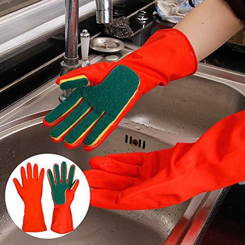 D-SYANA8 1 Paar Peeling-Handschuhe, Geschirrspülen, Reinigung weich, Scheuermittel, Küche und Badezimmer, Rot