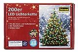 Idena LED Lichterkette 200er, ca. 27,90 m, für innen/außen, bunte Lichter