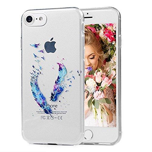 SMART LEGEND iPhone 7 Weiche Silikon Hülle Bumper Schutzhülle Transparent Hülle mit Muster Handyhülle Crystal Schutzhülle Kirstall Clear Etui Ultra Slim Durchsichtig Weich TPU Handytasche Soft Case Si Feder