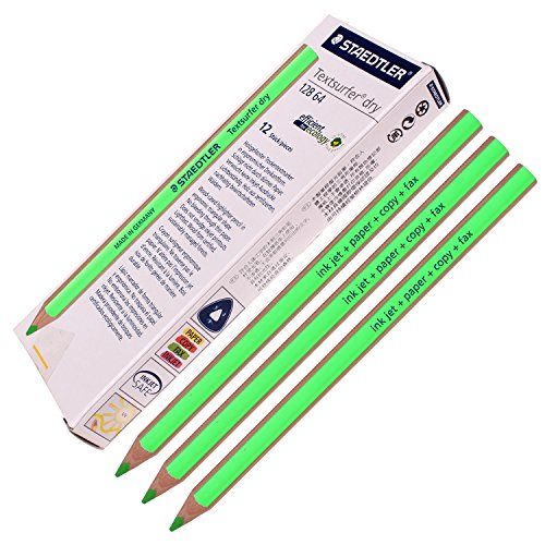 Staedtler Textsurfer Dry Highlighter Pencil 12864Drawing for writing Sketching inkjet, paper, Copy, fax (12pezzi, verde)