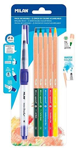 Milan BWM10401 - Set pincel agua 5 lápices acuarelables