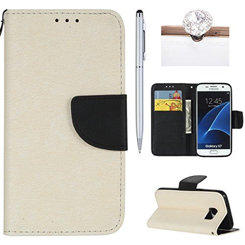 Felfy Coque Etui pour Samsung Galaxy S7,Galaxy S7 Coque Dragonne Portefeuille PU Cuir Etui,Galaxy S7 Etui Cuir Folio Housse Brun Tournesol 3D en Relief Motif Leather Case Wallet Flip Protective Cover  Blanc + Noir